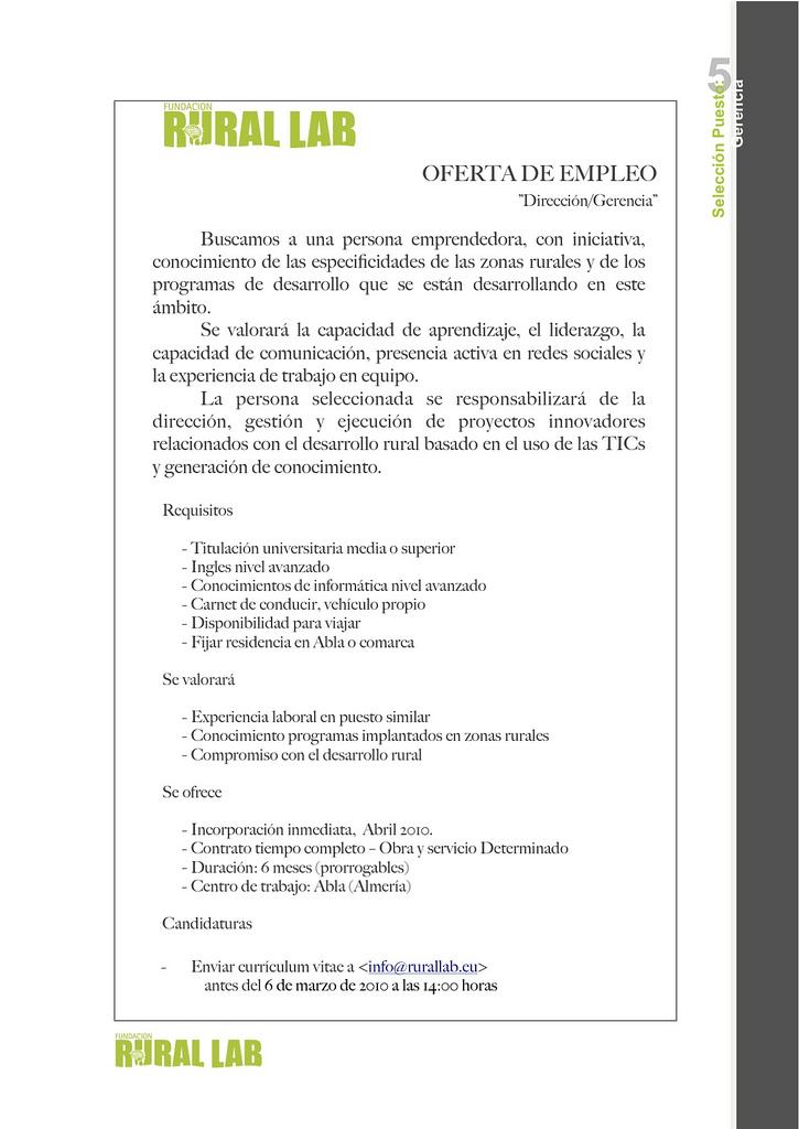 Oferta de empleo Dirección/Gerencia Fundación Rural Lab ABLA